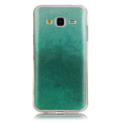 Moonmini Gradient Colour Sparkling Glitter Ultra Slim Fit Soft TPU Phone Back Case Cover for for Samsung Galaxy J3 (2015) - Mint Green