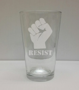 Resist Fist Pint glass - Hand Etched - Made in the USA, Great for gifts