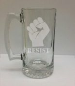Resist Fist 710ml Glass Stein - Hand Etched - Made in the USA, Great for gifts