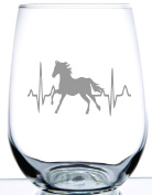 HORSE HEARTBEAT - Rodeo Collection - 500ml Professionally Etched Stemless Wine Glass