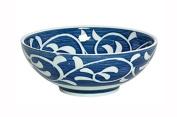 21cm Blue & White Leaves Bowl