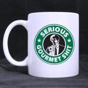 Funny Serious Gourmet Shit Coffee Mug or Tea Cup,Ceramic Material Mugs,White 330ml