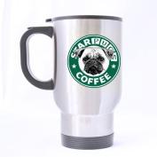 Popular Funny Pug Mug - Starpugs Coffee Mug - 100% Stainless Steel Material Travel Mugs - 410ml sizes