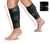 Calf Brace - 4 protectors in 1 bundle - Neoprene Support - Soft Wrap Sleeve with Straps - Recovery from Muscle Cramp, Edoema, Varicose Veins, Shin Splints, Leg Fracture - Running and Sports