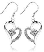 Newest Jewellery 2.8cm Bling Heart-shaped Rhinestone Diamond Hook Dangle Drop Earrings Stud Eardrop