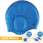 Royal Swim Cap For Long Hair - Waterproof Premium Silicone swimming Cap for Women & Men - Special Shape for Effective Ear Protection - Keeps Hair Dry - with Nose Clip & Ear Plugs - Black, Blue, Pink