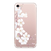 Qissy iPhone 7 Case girl Cherry Blossom Rabbit Roses Clear Design Transparent TPU Cover for iPhone 7