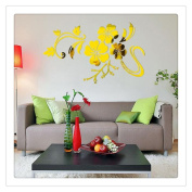 Buedvo Vinyl Wall Decals, 3D Mirror Floral Shape Removable Wall Sticker Home Décor DIY