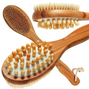 Luxury Bamboo Body Brush, Premium Long Handle, Natural Boar Bristles For Smoother, Healthier Skin & Cellulite Treatment, Wet Or Dry Skin Brush, with FREE Lotion Applicator & Exfoliating Glove
