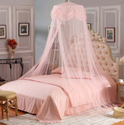 Nattey Princess Lace Bedding Mosquito Net Canopy Bites Protect For Twin Queen King Size Peach Colour