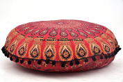 Peacock Mandala Indian Round Black Pom Pom Floor Pillow Cover Sham Ottoman Pouffe Bohemian Meditation Seat Hippe Large Cushion Cover