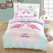 WarmGo Twin Size Girls Bedding Sets,100% Cotton Pink Bird Print Duvet Cover Sets No Comforter