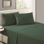 Mellanni Flat Sheet TwinXL Emerald-Green - HIGHEST QUALITY Brushed Microfiber 1800 Bedding Top Sheet - Wrinkle, Fade, Stain Resistant - Hypoallergenic -
