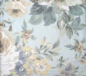 ENVOGUE 100% Cotton FULL/QUEEN Duvet Set Aspen Soft Florals Ivory, Beige, Green, Lavender, on Light Blue