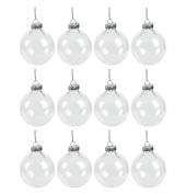 6.4cm Set of 12 Clear Glass Ball Christmas Ornaments