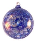 Friendship Ball Cobalt Blue Web Design 10cm Kugel Iridized Witch Ball by Iron Art Glass Designs