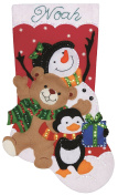 Holiday Friends Stocking Felt Applique Kit-18 Long