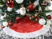 Red and White Plush Christmas Tree Skirt - 100cm by Country Silk