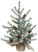 Pine and Burlap Snow Dusted 60cm Artificial Christmas Tree Decoration