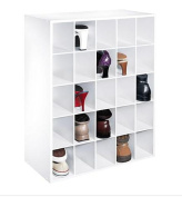 White Shoe Closet Storage Cabinet Fits 25 Pair of Shoes Cubby Organiser Cube Rack Boot Boots Home Furniture Hallway Doorway Hall Shelf Shelves Pairs Design Modern Style Fashion