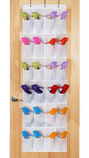 24 Pockets Over the Door Shoe Organiser, Tidy Closet Wall Hanging Storage Bag Bedroom Home Space Saver Caddy Organiser Unit Rack Shelf Holders Household Wardrobe Accessory, With 3 Hooks