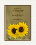 "Friend Gift with ""Miracle of Friendship"" Poem, Sunflowers Photo, 8x10 Double Matted. Great Friendship Gift, Best Friend Gift for Friend for Birthday, Christmas, Friendship Day."