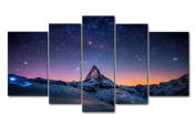 Fresh Look Colour 5 Piece Wall Art Painting Starry Night Sky Over The Mountains Prints On Canvas The Picture Landscape Pictures Oil For Home Modern Decoration Print Decor For Living Room