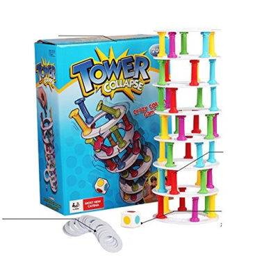 VKOPA Crash Tower Game Wobbly Tower Collapse Game. Parents And Kids Love This Game Alike Enjoy The Thrill! Great Challenge Game for Family Fun!