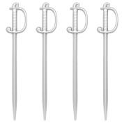 Soodhalter Regal Swords, 100 Silver Sword Picks, 7.6cm Plastic Food & Cocktail Toothpicks