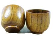 Moyishi Top-Grade Natural Solid Wood Wooden Tea Cup Wine Mug 50ml, Set of 4