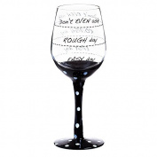 """Cypress 3CWG5209C Playful """"Don't Even Ask..."""" Wine Glass, Black"""