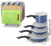 2 Pack - SimpleHouseware Kitchen Cookware Organiser Rack, Chrome