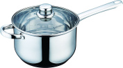 Buckingham Stainless Steel Induction deep Saucepan with Glass Lid , Cooking Pot 20 cm / 3.8 Litre - Premium Quality