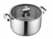 Zanussi Positano Stainless Steel 24cm deep Stockpot with Glass Lid, Silver