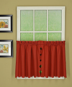 Today's Curtain CA2003K Orleans 80cm Tier Pair with Tiebacks Tambour Scallop Edge Curtain, Brick Red,150cm W X 80cm L/TB
