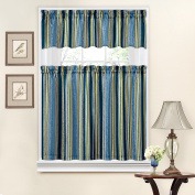 Traditions by Waverly Stripe Ensemble Tier and Valance Set Porcelain