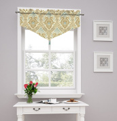 Traditions by Waverly Dressed up Damask Ascot Valance, Birch