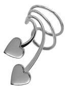 Ear Charm's Cute Double Heart Rhodium on Silver Left NON-Pierced Wrap-on Short Wave Ear Cuff Earrings