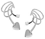 Ear Charm's Sweet Heart and CZ Non-Pierced Short Wave Rhodium on Silver Pair of Ear Cuff Earrings