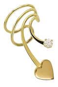 Ear Charm's Sweet Heart with 2mm CZ Non-Pierced Gold on Silver Short Wave Right Ear Cuff Earrings
