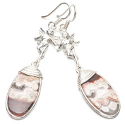 StarGems(tm) Natural Crazy Lace Agate 925 Sterling Silver Earrings 5.7cm