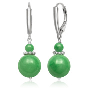 Sterling Silver Natural Green Jade Lever-Back Drop Dangle Earrings