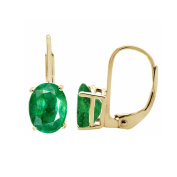 3.25 Ct.Ttw 9x7MM Oval Created Emerald Leverback Earrings In 14K Yellow Gold