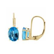 3.75 Ct.Ttw 9x7MM Oval Blue-Topaz Leverback Earrings In 14K Yellow Gold