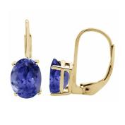 3.25 Ct.Ttw 9x7MM Oval Created Tanzanite Leverback Earrings In 14K Yellow Gold