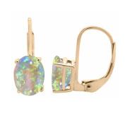 1.75 Ct.Ttw 9x7MM Oval Created Opal Leverback Earrings In 14K Yellow Gold