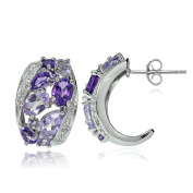 Sterling Silver African Amethyst, Amethyst and White Topaz Cluster Tonal Earrings