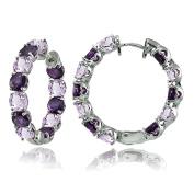 Sterling Silver Genuine or Created Gemstone 28mm Hoop Earrings