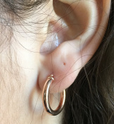 14K Rose Gold Thick Tube Hoop Earrings with Click-Top Clasp,