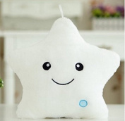 URToys Colourful Body Pillow Star Glow LED Luminous Light Pillow Plush Stuffed Toys Cushion Soft Relax Gift Smile 5 Colours Body Pillow Kids Birthday Christmas Gift Home Decorations